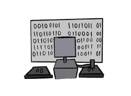 this image shows a robot who has replaced the bureaucrat and is standing before a computer screen that has a bunch of 1s and 0s on it. there are two buttons before the robot. one of them says 00 on it and the other says 01. the process has become entirely opaque to humans.